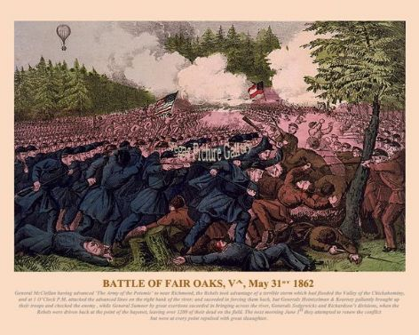 Fine art print of the American Civil War of the Battle of Fair Oaks May 31st 1862